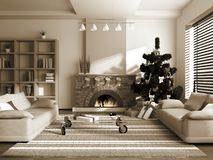 Christmas interior. 3D rendering. You can hang your illustration over the fireplace Royalty Free Stock Photography