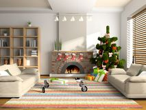 Christmas interior. 3D rendering. You can hang your illustration over the fireplace Stock Photo