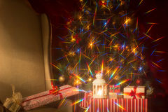 Christmas interior with Christmas tree and. Stock Image