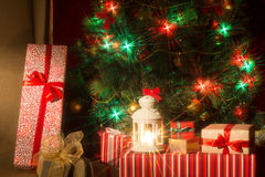 Christmas interior with Christmas tree and. Royalty Free Stock Image