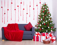 Christmas interior with christmas tree in living room Royalty Free Stock Photos