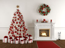 Christmas interior with classic fireplace Royalty Free Stock Images