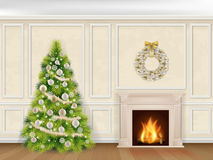 Christmas interior in classic style. With fireplace and fir tree on wall decorated moulding panels background Royalty Free Stock Photo