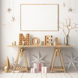 Christmas interior, decorated in Scandinavian style. 3d rendering. 3d illustration Royalty Free Stock Images
