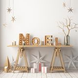Christmas interior, decorated in Scandinavian style. 3d rendering. 3d illustration Royalty Free Stock Photos