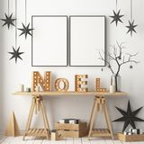 Christmas interior, decorated in Scandinavian style. 3d rendering. 3d illustration Stock Images