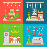 Christmas interior decoration flat design Royalty Free Stock Photography