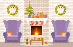Christmas interior design in flat style. Vector interior decorated for Christmas. The design of the room with fireplace. Living room is ready to celebrate the Stock Image