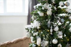 Christmas interior eco style. Design room with Christmas tree, sofa and the fireplace. Interior eco style stock photos
