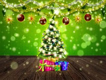 Christmas interior with fir tree Royalty Free Stock Photo