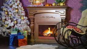A Christmas interior with a fireplace. Christmas background. stock footage