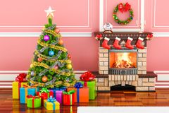 Christmas interior with fireplace, Christmas tree and gift boxes. 3D Royalty Free Stock Images