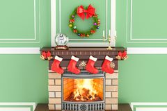 Christmas interior with fireplace, 3D royalty free illustration