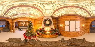 Christmas interior with a fireplace. 3d illustration of an inter. Ior design in a classic style with Christmas trees, presents and decor. Seamless 360 panorama Royalty Free Stock Photo
