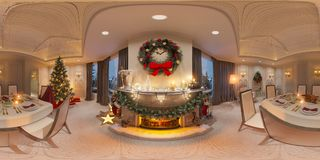 Christmas interior with a fireplace. 3d illustration of an inter. Ior design in a classic style with Christmas trees, presents and decor. Seamless 360 panorama Royalty Free Stock Photography