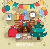 Christmas interior. Interior with fireplace and Christmas decorations. Conceptual illustration of a flat style on the Christmas theme Stock Images