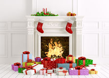 Christmas interior with fireplace and gifts 3d rendering. Classic christmas interior with fireplace,gifts,candles,stockings 3d rendering Stock Photo
