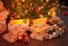 Christmas interior with gifts Royalty Free Stock Photo