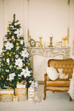Christmas interior in gold color 4 Royalty Free Stock Photo