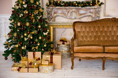 Christmas interior in gold color Stock Photo