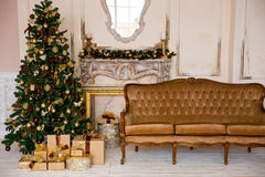 Christmas interior in gold color Stock Images