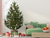 Christmas interior with a green sofa Stock Photos