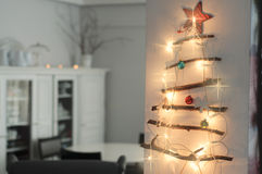 Christmas Interior with hand made Christmas tree Stock Photo