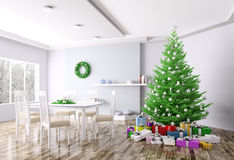Christmas interior of living room 3d rendering. Christmas interior of living room with christmas tree and gifts 3d rendering stock illustration