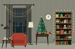 Christmas interior of living room. Christmas tree in living room with furniture in flat style. Vector interior of  living room with Christmas tree, gifts and Stock Image