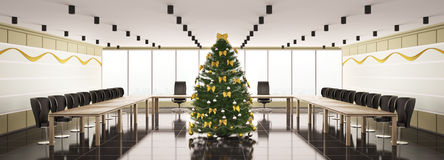 Christmas interior of modern boardroom panorama 3d Stock Images