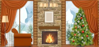 Christmas interior with mountain view. stock illustration