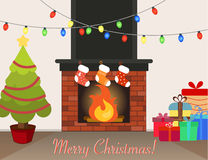 Christmas interior room with presents and fireplace. Christmas tree, socks for gifts from Santa, lights Stock Images