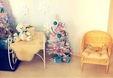 Christmas interior. Christmas tree, Christmas decorations stock image