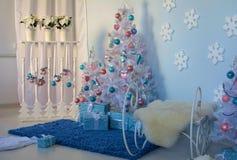 Christmas interior. Christmas tree Christmas tree, Christmas interior decoration stock photography
