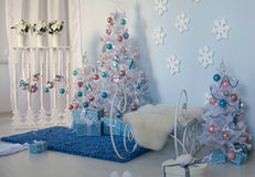 Christmas interior. Christmas tree Christmas tree, Christmas interior decoration stock images