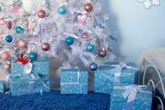 Christmas interior. Christmas tree Christmas tree, Christmas interior decoration royalty free stock image