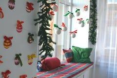 Christmas interior. Christmas tree Christmas tree, Christmas interior decoration stock photo
