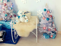 Christmas interior. Christmas tree Christmas tree, Christmas interior decoration Stock Images
