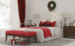 Christmas Interior of a white bedroom Stock Photography