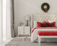 Christmas Interior of a white bedroom stock illustration