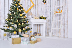 Christmas interior in white stock image