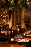 Christmas Interiors. Table Setting for the holidays royalty free stock image
