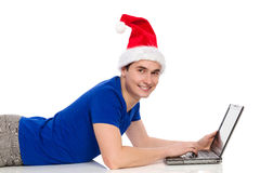 Christmas internet chatting Stock Photo