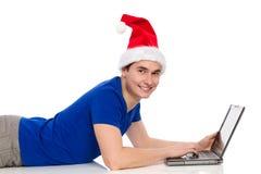 Christmas internet chatting Stock Photo