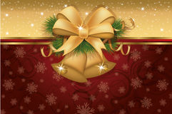 Christmas invitation card with golden bells. Vector illustration Royalty Free Stock Photo