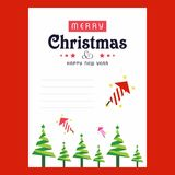 Christmas invitation card with tree abd red background. For web design and application interface, also useful for infographics. Vector illustration Royalty Free Stock Photo