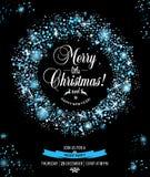Christmas invitation card witch wreaths. Stock Photos