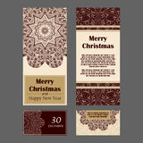 Christmas invitation cards for your design. Retro hand-drawn card with mandala. Vintage background with place for text. Royalty Free Stock Photos