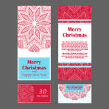 Christmas invitation cards for your design. Retro hand-drawn card with mandala. Vintage background with place for text. Can be use Stock Photos
