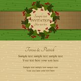 Christmas invitation, green and beige Royalty Free Stock Image